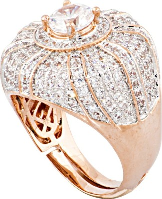 Sparkling Drop Sparkle Loops Brass Cubic Zirconia Rose Gold Ring