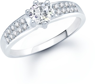 VK Jewels VK Jewels Well Design Rhodium Plated (CZ) Ring Alloy Cubic Zirconia Rhodium Ring at flipkart