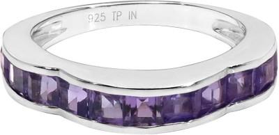 Colortone Sterling Silver Amethyst Rhodium Ring