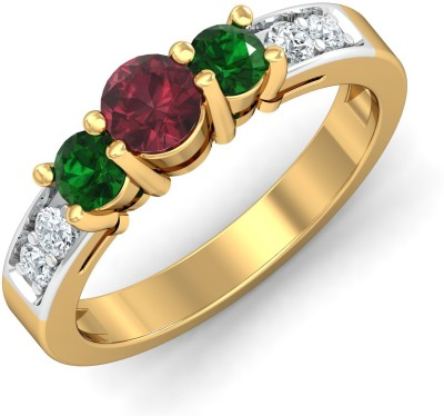 P.N.Gadgil Jewellers Enticing Multi Stone 18kt Ruby, Emerald, Diamond Yellow Gold ring(Yellow Gold Plated) at flipkart