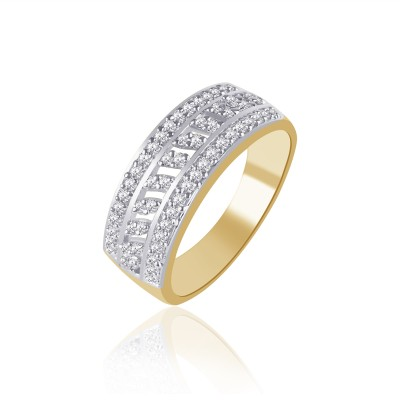 VK Jewels Sparkle Alloy Cubic Zirconia 18K Yellow Gold Ring at flipkart