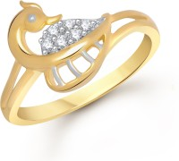 VK Jewels The Mayur Alloy Cubic Zirconia Yellow Gold Plated Ring