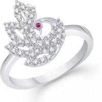 VK Jewels Elegant Mayur Alloy Cubic Zirconia Rhodium Plated Ring