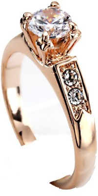 Kundaan Alloy Zircon, Crystal 18K Yellow Gold Ring at flipkart