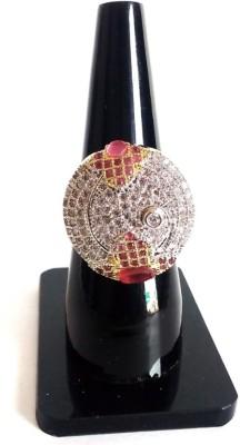 shreejicreations Brass Cubic Zirconia 9K Rose Gold Ring