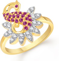 VK Jewels Excellent Mayur Alloy Cubic Zirconia Yellow Gold Plated Ring