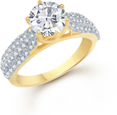 VK Jewels Cluster Golden (CZ) Gold and Rhodium Plated Alloy Cubic Zirconia Yellow Gold Ring at flipkart