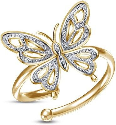 Kirati Stylish Butterfly Sterling Silver Cubic Zirconia 14K Yellow Gold Plated Ring at flipkart