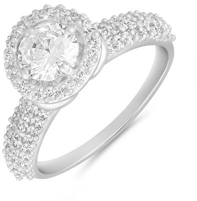 Mahi Cosy Sparkle Alloy Crystal Rhodium Plated Ring at flipkart
