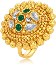 Sukkhi Fine Designer Traditional Cocktail Gold Plated American Diamond Alloy 18K Yellow Gold Ring