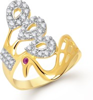 VK Jewels Splendid Mayur Alloy Cubic Zirconia Yellow Gold Plated Ring