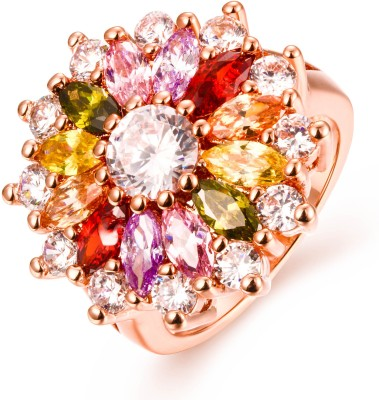 Yellow Chimes Sparkling Glamourously Swiss Zircon Alloy Rose Gold Ring at flipkart