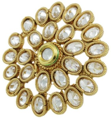 Orniza Polki Fashion Finger Ring in Clear Color Brass Yellow Gold Plated Ring at flipkart