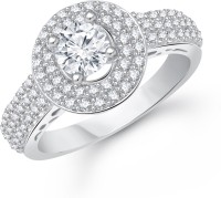 VK Jewels Royal Solitaire Alloy Cubic Zirconia Rhodium Plated Ring
