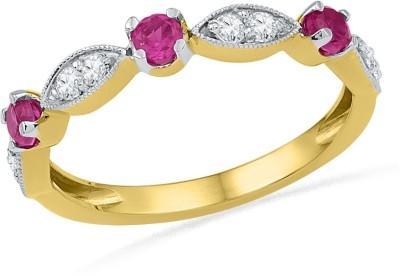 JPearls Rubys Sterling Silver Diamond Sterling Silver Ring