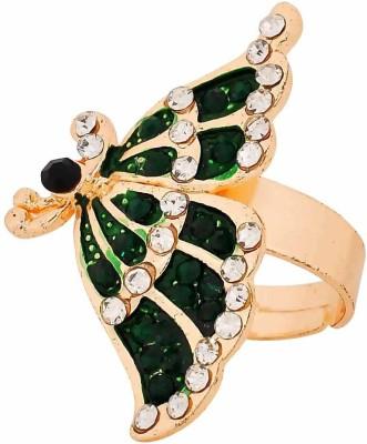 Maayra Plush Studded Alloy Crystal Rhodium Plated Ring at flipkart
