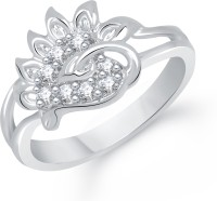 VK Jewels Lovely Leaf Alloy Cubic Zirconia Rhodium Plated Ring
