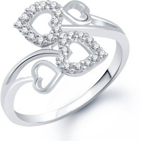 VK Jewels Twin Heart Alloy Cubic Zirconia Rhodium Plated Ring