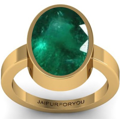Jaipurforyou Certified Panna (Emerald) 13.70cts or 15.25 ratti Alloy Emerald 22K Yellow Gold Plated Ring at flipkart
