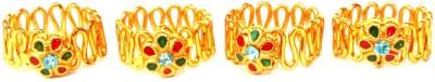 Achal Metal Crystal Yellow Gold Toe Ring Set