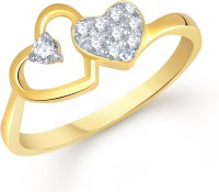 VK Jewels Ravishing Heart Gold Alloy Cubic Zirconia Yellow Gold Plated Ring