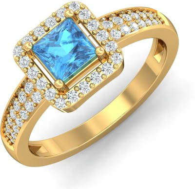 P.N.Gadgil Jewellers Charming Blue Topaz 18kt Topaz, Diamond Yellow Gold ring(Yellow Gold Plated) at flipkart