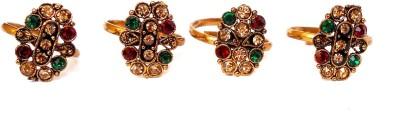 Achal Metal Crystal Copper Toe Ring Set