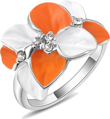 Johri Store Alloy Crystal 18K White Gold Ring
