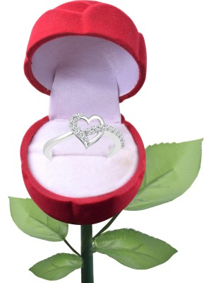 Vighnaharta Alloy Cubic Zirconia 18K White Gold Plated Ring at flipkart