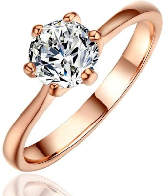Kundaan Alloy Zircon 18K Rose Gold Ring at flipkart