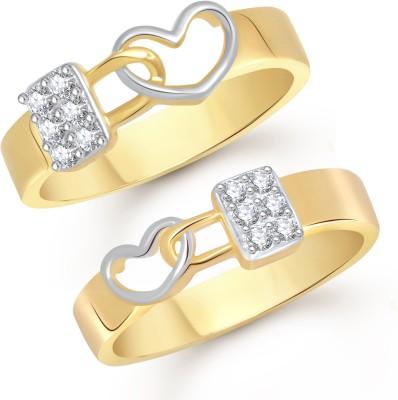 VK Jewels Love Lock Alloy Cubic Zirconia 18K Yellow Gold Ring Set