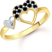 VK Jewels Double Heart Gold Alloy Cubic Zirconia Yellow Gold Plated Ring