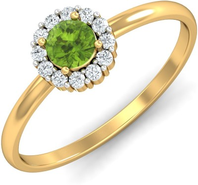 P.N.Gadgil Jewellers Floral Green 18kt Diamond Yellow Gold ring(Yellow Gold Plated) at flipkart
