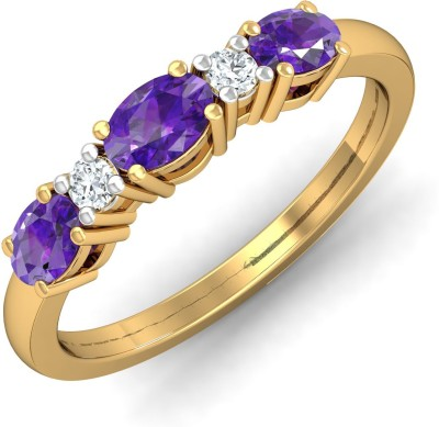 P.N.Gadgil Jewellers Allu Amethyst 18kt Amethyst, Diamond Yellow Gold ring(Yellow Gold Plated) at flipkart