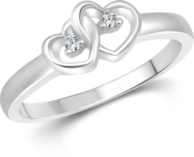 Vighnaharta Dual Heart Alloy Cubic Zirconia 18K White Gold Ring