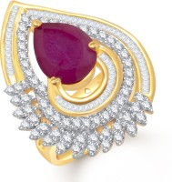 VK Jewels Charming Ruby Alloy Cubic Zirconia Yellow Gold Plated Ring