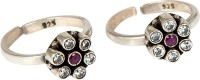 Siri Creations 92.5 Maroon And White Stones Silver Silver Plated Toe Ring Set