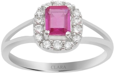 Clara The Lamis Sterling Silver Swarovski Crystal Rhodium Ring