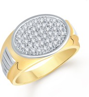 VK Jewels Oval Alloy Cubic Zirconia Yellow Gold Plated Ring