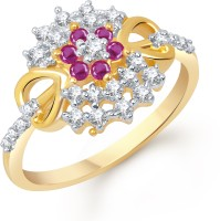 VK Jewels AD and Ruby Studded Heart Alloy Cubic Zirconia Yellow Gold Plated Ring