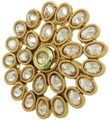 Orniza Polki Fashion Finger Ring in Beige Color Brass Yellow Gold Plated Ring at flipkart