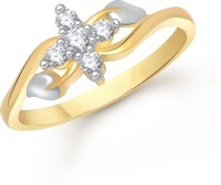 VK Jewels Five Stone Alloy Cubic Zirconia Yellow Gold Plated Ring