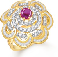 VK Jewels Lovely Flower Alloy Cubic Zirconia Yellow Gold Plated Ring