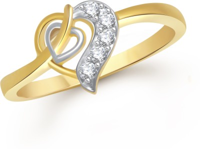 VK Jewels Valentine Heart Alloy Cubic Zirconia Yellow Gold Ring at flipkart