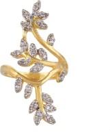 Moda Stella American Diamond 24 Karat Gold Plated Diamond Looking Leaf Pattern Ladies Ring Brass 24K Yellow Gold, Rhodium Ring best price on Flipkart @ Rs. 149