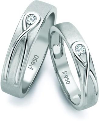 Suranas Jewelove Infinity Knot Solitaire Platinum Diamond Ring Set