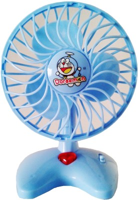 Vaibhav Cute Mini Doraemon Plastic Blue Toy Fan For Kids - Battery Operated
