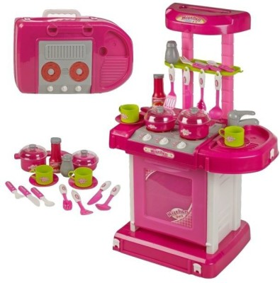GME Portable Kitchen Set With Lights & Cooking Sound Toy For Kids pink