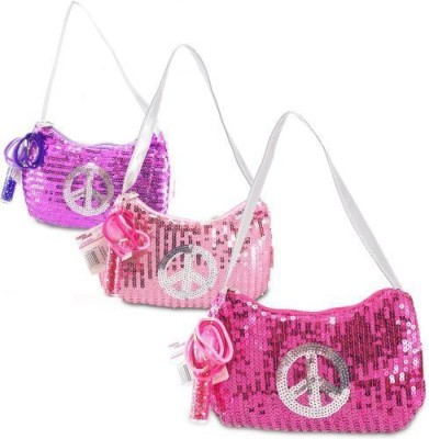 Expressions Girl Girl / Sequin Peace Sign Handbag, One Assorted Pink, Purple or Fuschia