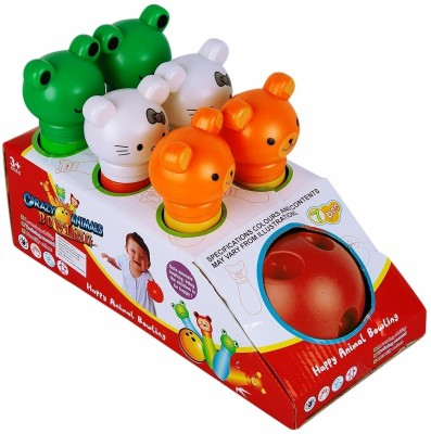 Ollington St. Collection Happy Animal Bowling Set - Red